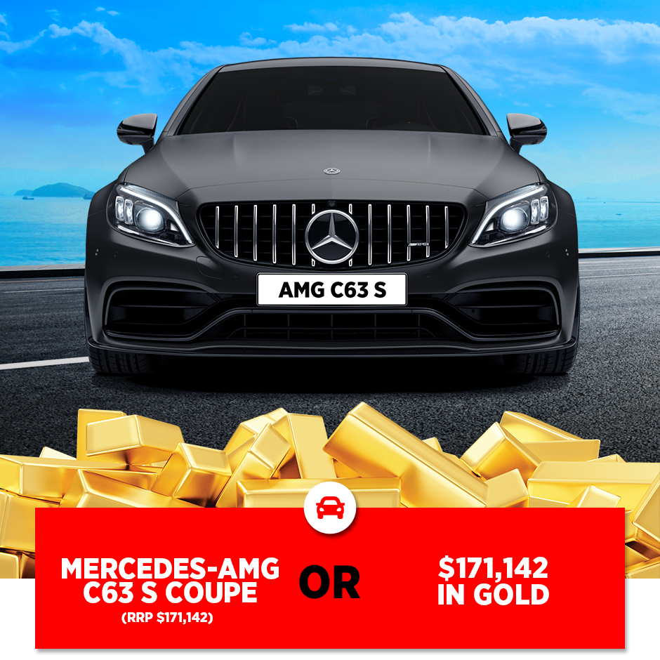 An image showing the MS Limited Edition Draw 216 Grand Prize, a choice between an AMG C63 S Coupe or $171,142 in Gold.